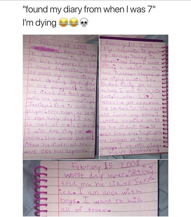 HAHAHAA I was legit the same when I was that age my childhood diaries are hilarious