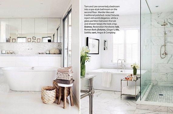 Cuartos de ba o con m rmol blanco luminosos y elegantes for Como desmanchar el marmol blanco