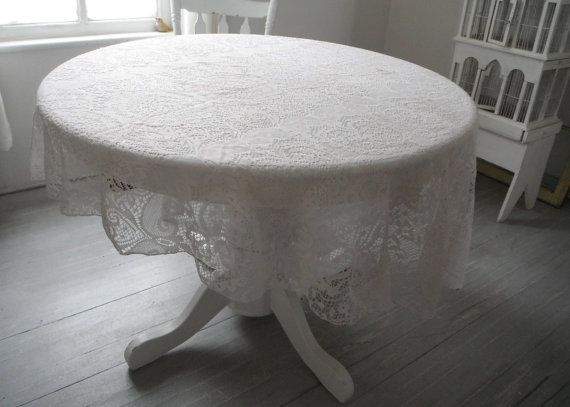 shabby chic lace tablecloth oval tablecloth hand TEA by ShabbyRoad