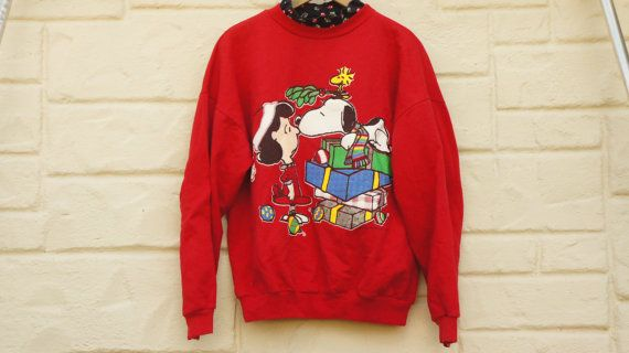 Vintage 90s Peanuts Christmas sweatshirt Ugly by SycamoreVintage