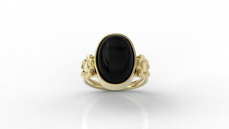 Złoty pierścionek z onyksem / Gold made from yellow gold with onyx / #design #jewellery #gold #onyx