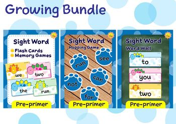 This is a growing bundle of Pre-primer sight words, Dino Theme. This bundle only has 3 activities at the moment. But many more fun activities will be added to this bundle very soon. Because I'll raise the price along with the new activities added, it's an advantage to purchase this bundle now, while the price still low, and you can download the new additions later, for free.