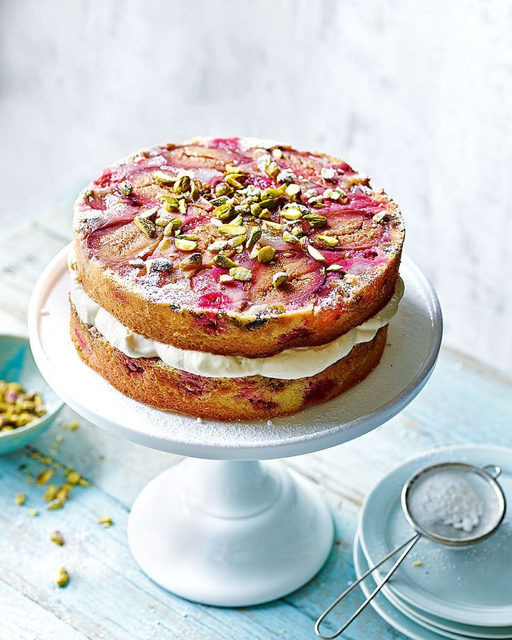Studded with fresh figs, raspberries, pistachios and Turkish delight – John Whaite's double upside-down cake brings a taste of the East to afternoon tea.
