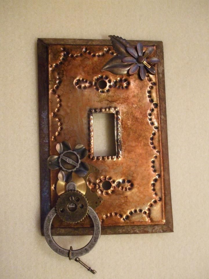 Steampunk Light Switch Covers Tin Cover Antiqued And Nail