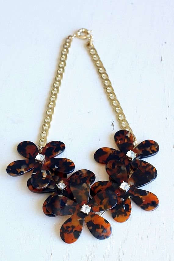 Epic J Crew Inspired Tortoise Flower Necklace On Sale