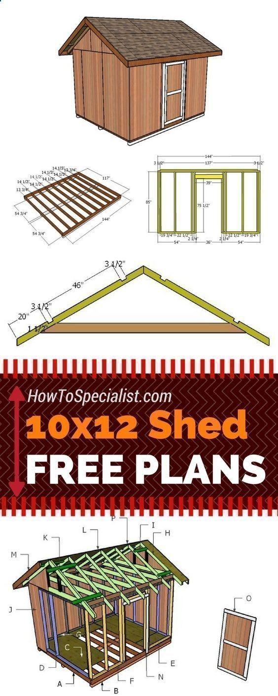 Learn how to build a 10x12 shed with my free and step by step plans! Just follow the free 10x12 shed plans if you want to build a garden storage shed with minimum effort and costs! howtospecialist.com #diy #shed #howtobuildagardenshed #diystorageshedplans #gardensheds #diyshedplans #buildashed #buildingashed