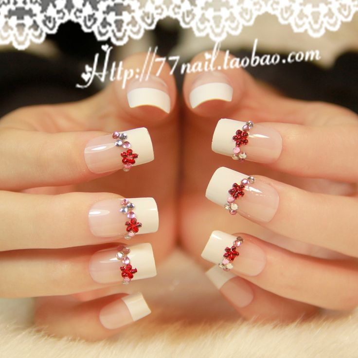 Elegant french tip nails decor french design nail for Acrylic nail decoration