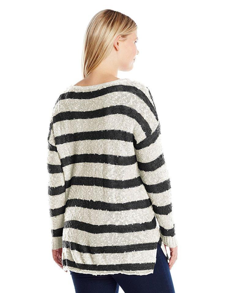 Women's Plus Size Stripe Boat Neck Tunic – Blanket Canvas/Jet Black – CM12M2P04OT