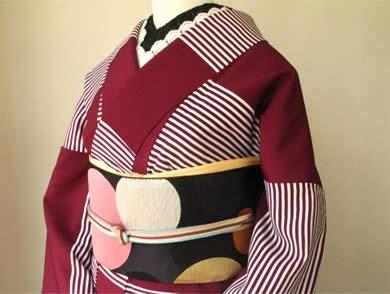 Modern take of a kimono, sold at Mamechiyo, Japan.  Same obi as that pink kimono earlier.  Love it in this better.