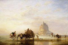 """""""Mont St Michel, paysans retournant à Pontorson à l'approche de la marée"""",    by Edward William Cooke"""