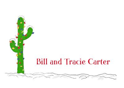 A green cactus stands in the snow decorated with Christmas lights on this folded note card stationery. Cute alternative to a Christmas tree!