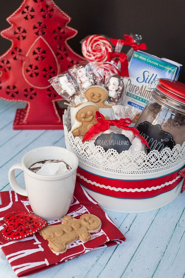 Create a handmade gift basket for Christmas with Silk Coconutmilk and dairy-free cocoa mix! #christmas #handmade #DIYgifts