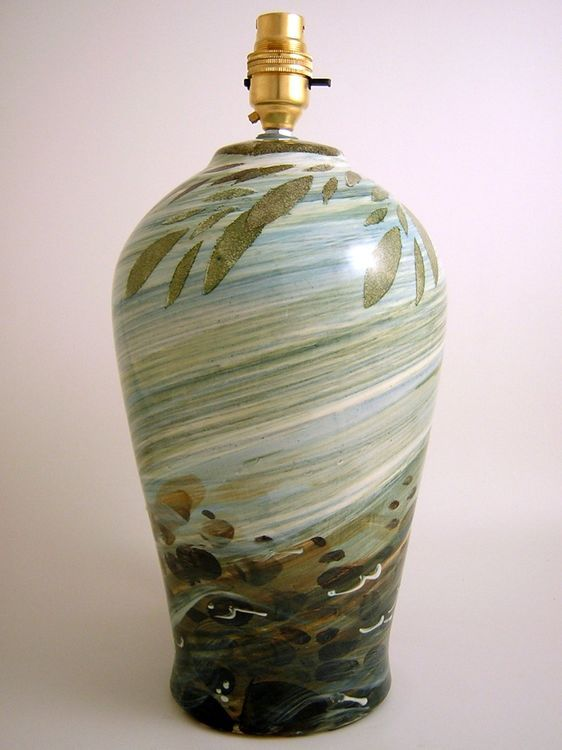 Small lamp base- River design - Hand decorated earthenware