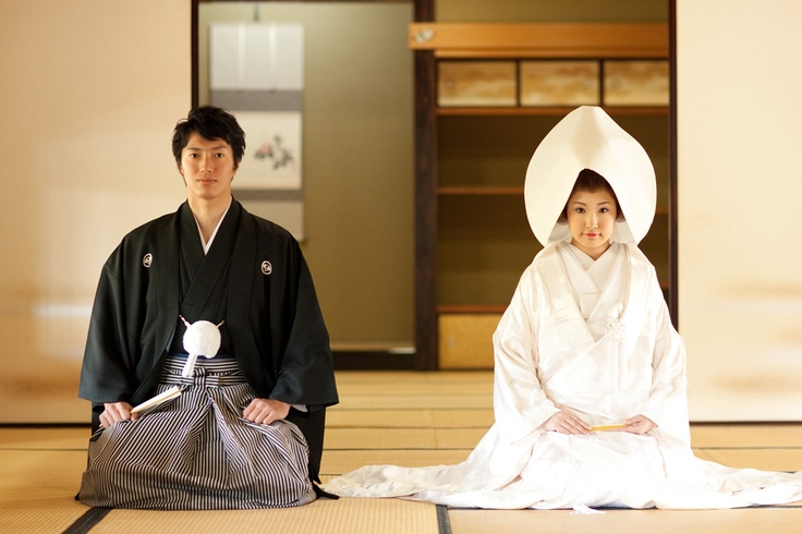 Traditional Japanese wedding photograph. Their wedding photograph is something like this.