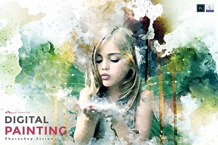 Digital Painting Photoshop Action Photoshop Actions Photoshop