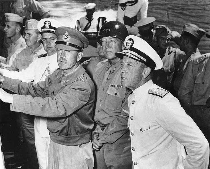 Marshal Alexander,  General Patton, and Admiral Kirk at Mers el Kabir, Algeria, 23 Jun 1943.