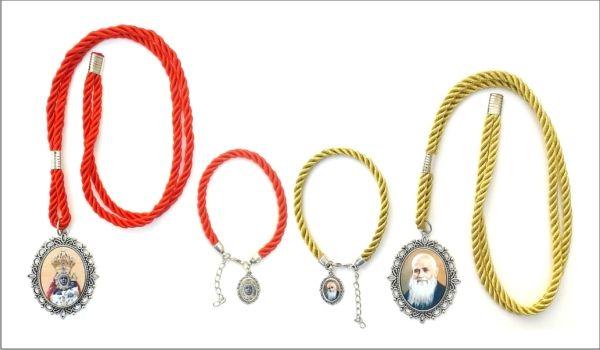Conjunto de medalla religiosa con cordón y pulsera con medalla pequeña para hermandades, peñas, romerias, cofradias, bandas, ect... Surtido colores de cordón