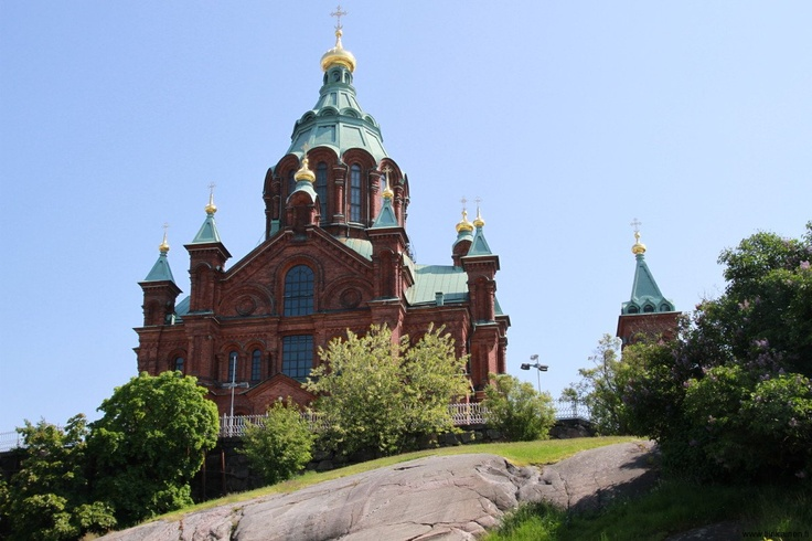 Uspenski Orthodox Cathedral stands great on the rocky hill in Katajanokka, Helsinki.