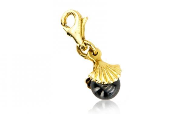 """Zlatý prívesok charm mušľa """"black pearl"""""""