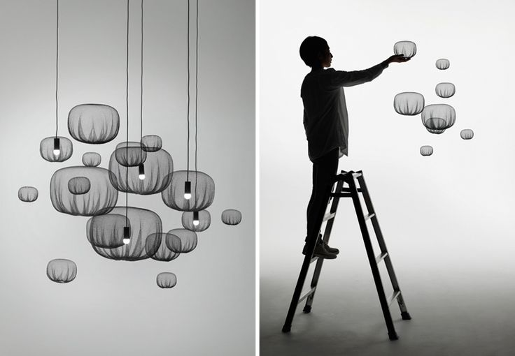 """Farming-net' collection """"The lamp softly emits light, in the manner of a traditional japanese paper lantern. The action of gently wrapping something and close attention to the texture of the surface endow these objects with the very particular sense of expression found only in japan, since ancient times,' says nendo of the collection's pieces."""