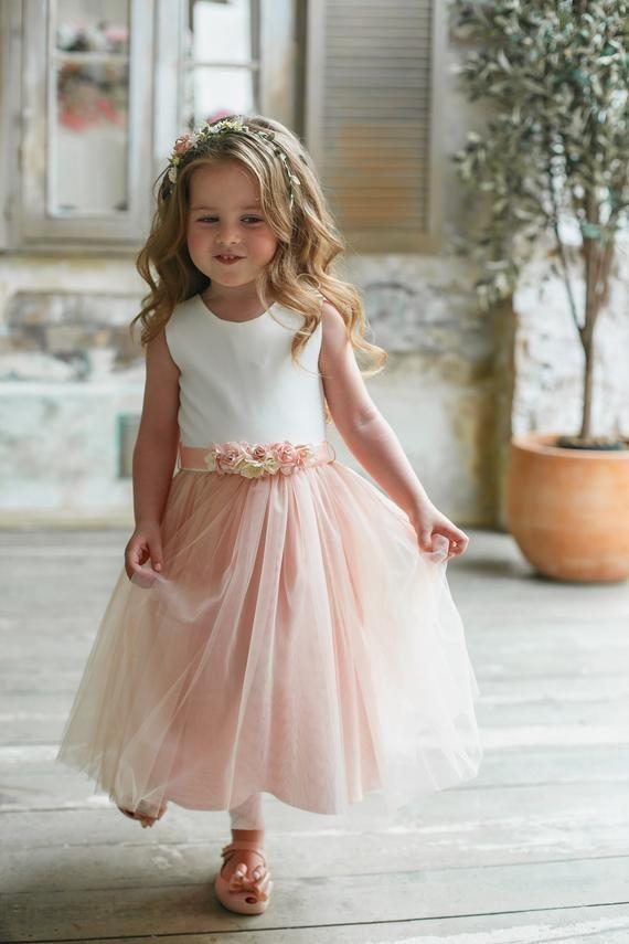 Flower girl dress Blush child dress Flower sash Pink Flower | Etsy