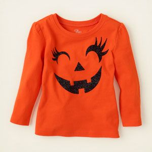 baby girl - graphic tees - long sleeve - Halloween pumpkin face graphic tee   Children's Clothing   Kids Clothes   The Children's Place