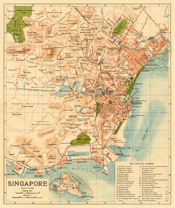 Map of Singapore Archival map 16 x 19 by AncientShades on Etsy