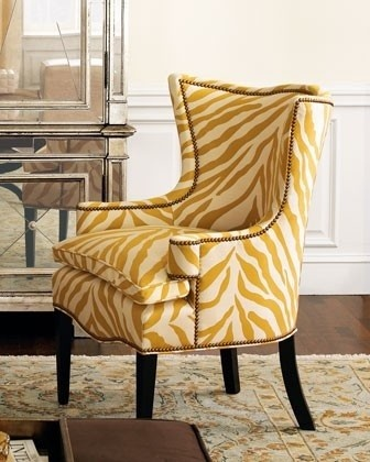 Love this! Not in yellow though. Sunflower zebra chair from Horchow. $2199