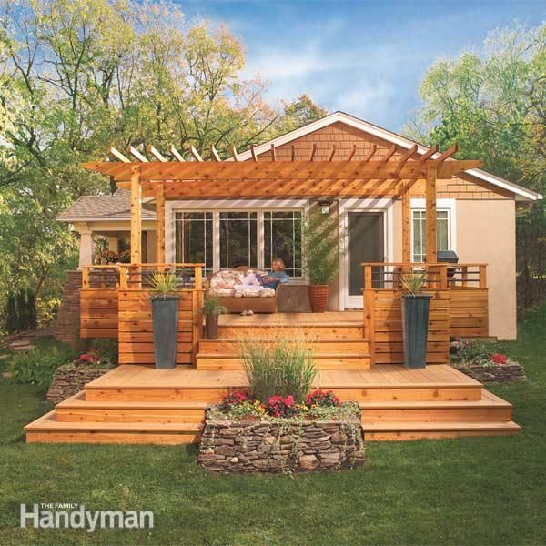 backyyard patio designs for split level house | Dream Deck Plans | The Family Handyman