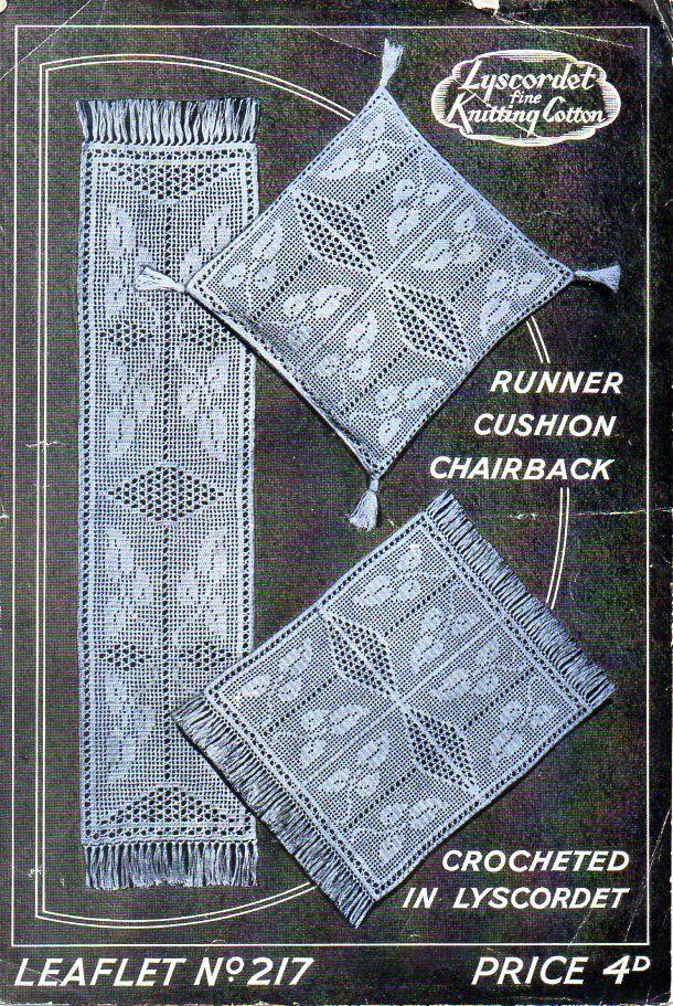 Vintage Crochet Pattern Pdf Filet Crochet Runner Cushion Cover