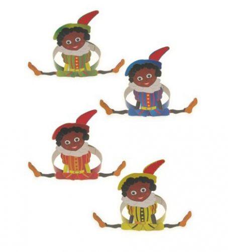 Zwarte Pieten hoofdbanden van karton  Kartonnen Zwarte Piet hoedje. Hoofdband van karton met Zwarte Piet in een gekleurde outfit.  EUR 0.95  Meer informatie