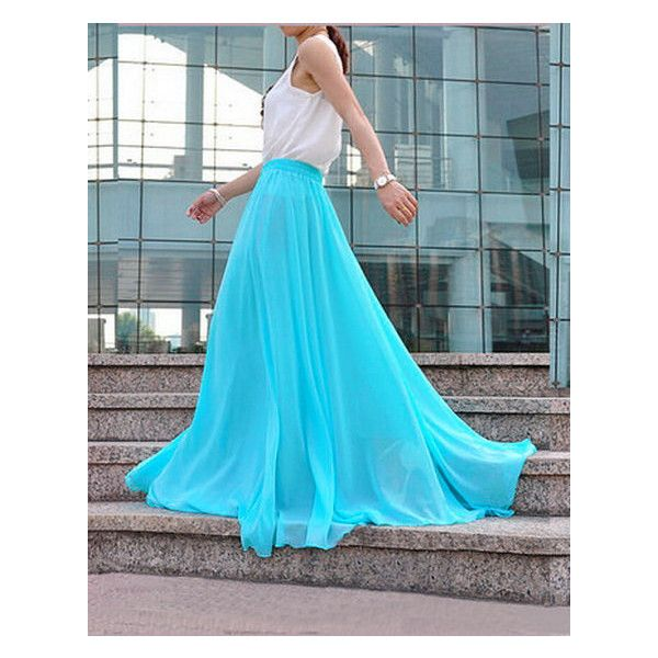 Light Blue Chiffon Skirt Long Skirt Flared Blue Maxi Skirt Bridesmaid... ($60) ❤ liked on Polyvore featuring skirts
