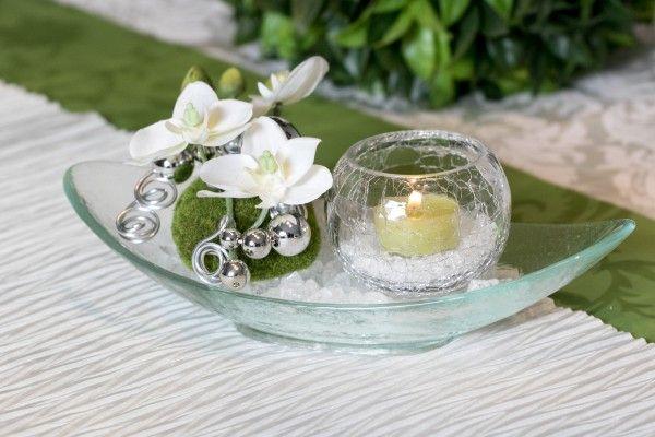 Tischgesteck Tischdeko Nr.82 Glasschale mit Orchidee und Teelicht Deko Neuheit