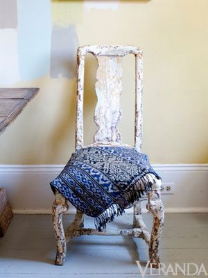 Swedo-philes have flocked to Ann Koerner in New Orleans for years for her carefully selected stock of antiques like this rustic Rococo side chair.