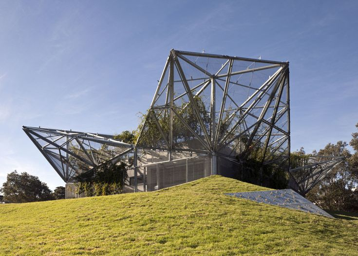 Angular steel canopy covers community centre by Collins and Turner