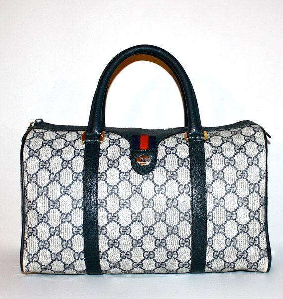 Perfect Fashionista VINTAGE GUCCI Speedy Blue Tiny Stripe Doctor's Bag