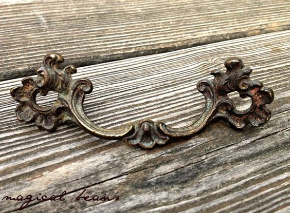 Antique French Brass Drawer Pulls by Keeler Brass Co at MagicalBeansHome.com