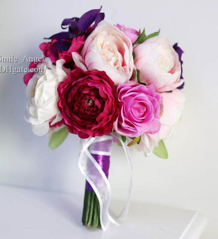 Cheap Bridal Bouquets - Discount Bridal Bouquets Purple Hydrangea Rose Red Peony Phalaenopsis Handmade Artifical Bridal Bouquet Flowers Wedding Favors Wholesale Dropship Online with $29.22| DHgate