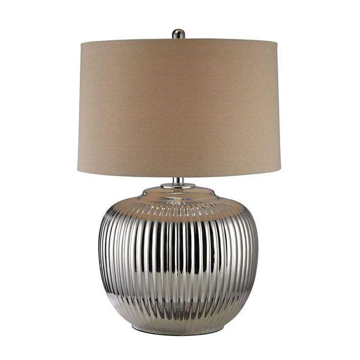 Titan Lighting Ribbed Ceramic 27 in. Oversized Silver Table Lamp