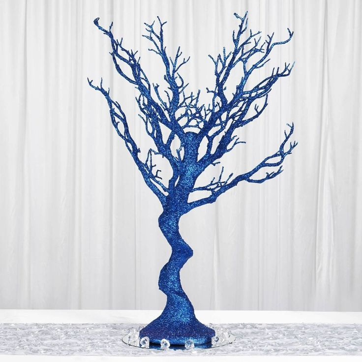 "30"" Glittered Manzanita Royal Blue Centerpiece For Wedding Party Event Table Top Decoration Tree   8pcs Acrylic Chains"
