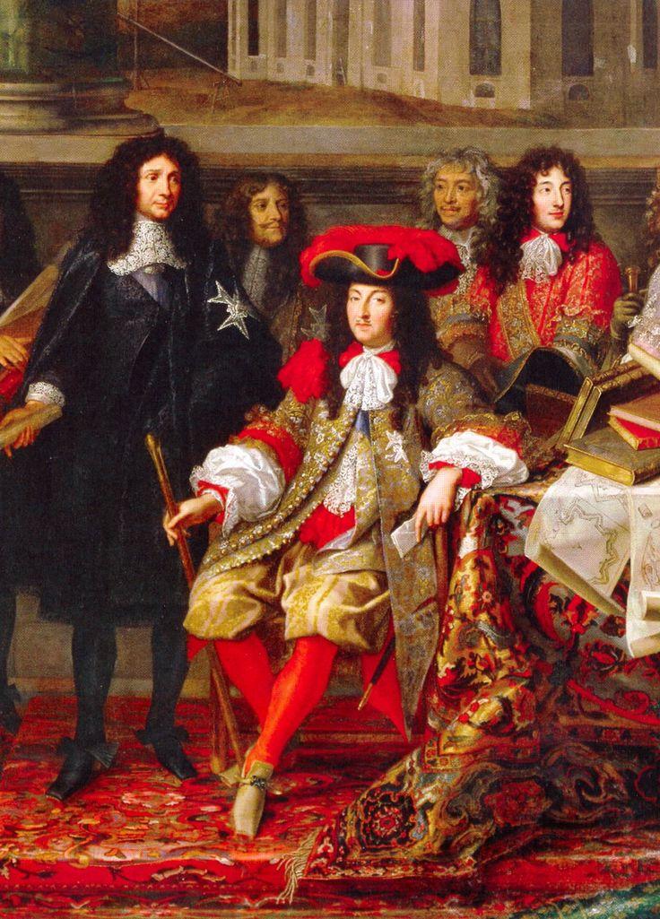 Louis XIV, roi de France, en 1666. Le roi est accompagné de son frère Philippe, duc d'Orléans (en rouge, à droite), et de Colbert (debout en noir, à gauche).