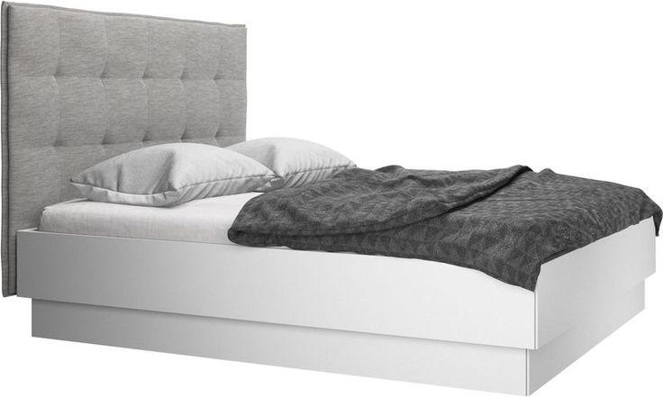 Sängar - Lugano säng med förvaring. Upplyftbar ram och ribbotten, exkl. Madrass - Grå - Tyg