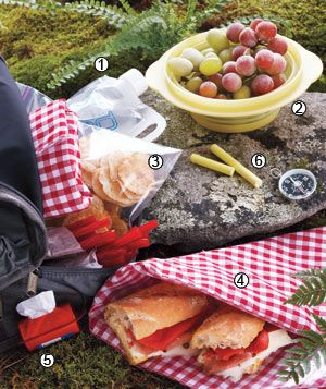 3 Picnic Menus: a small one for a hike, medium sized for beach trip, and a big one for a concert in the park.