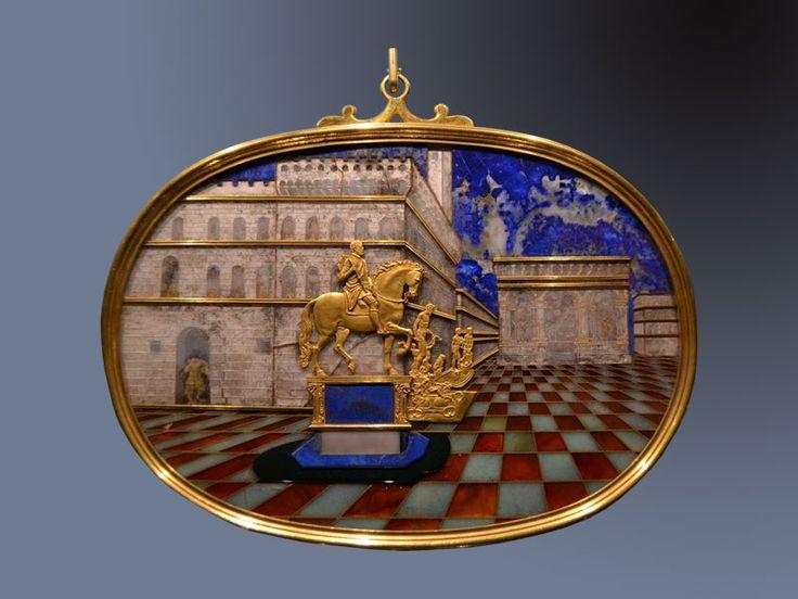 Bernardino Gaffurri (Mosaico) -  Jacques Bylivelt (rilievo in Oro ) - ovale con panorama di Piazza della Signoria - 1599 - Museo degli Argenti - Palazzo Pitti, Firenze