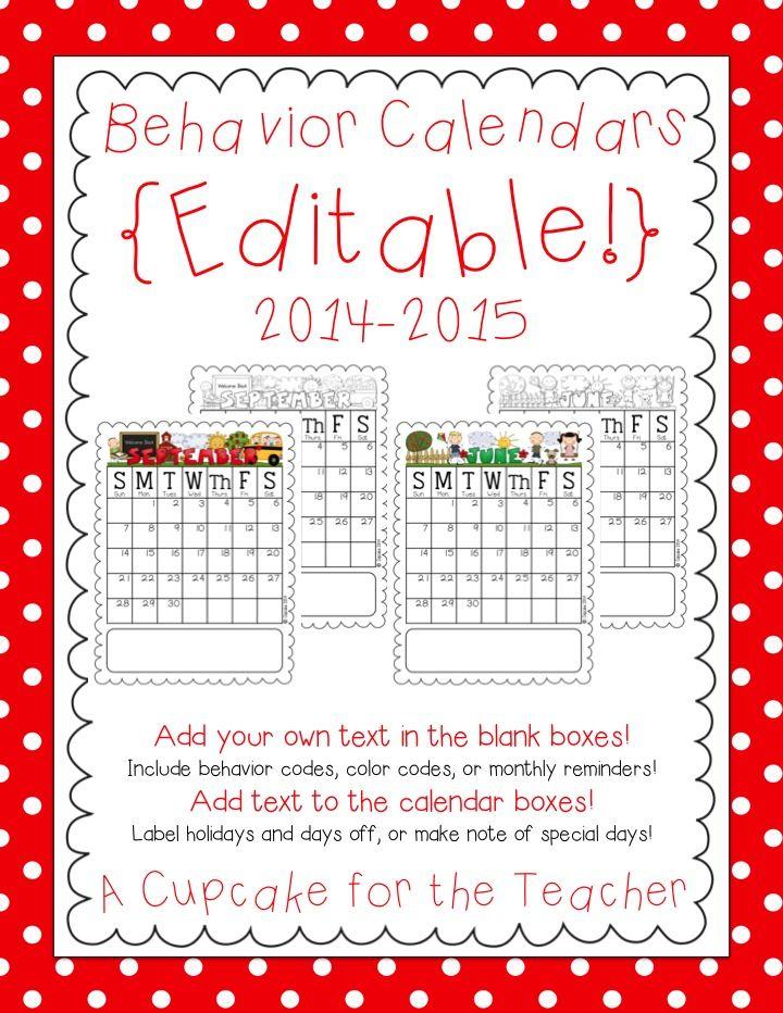 Editable Behavior Calendars 2014-2015! - A Cupcake for the Teacher