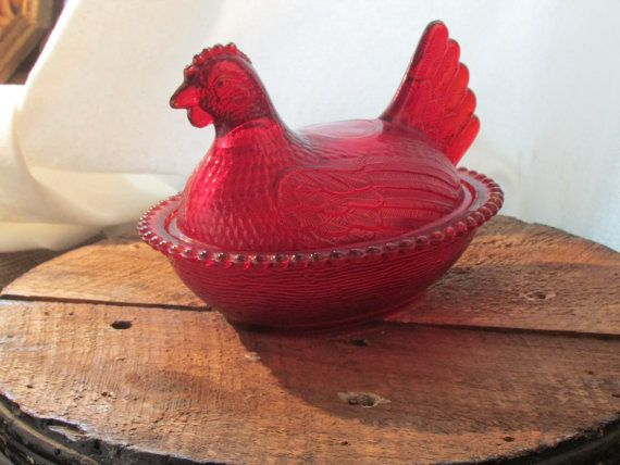 Rare+vintage+Indiana+glass+ruby+red+hen+on+nest++by+WhatNotsToLove,+$40.00