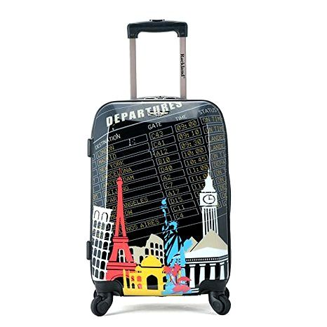13 Non-Boring Carry-On Suitcase Designs: ROCKLAND LUGGAGE Polycarbonate Carry On Rockland Luggage does it again with their 20″ hard shell polycarbonate carry-on suitcase collection with travel inspired graphics.
