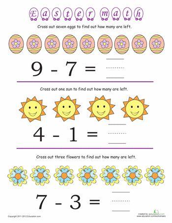 Worksheets: Easter Math #4: Subtraction