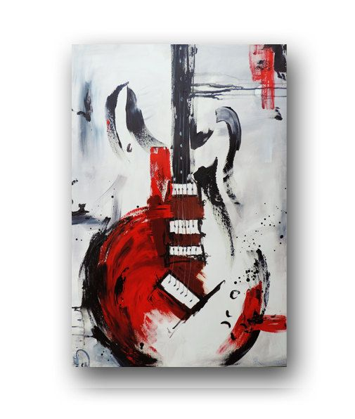 Guitar Painting Red White & Black Abstract by heatherdaypaintings,