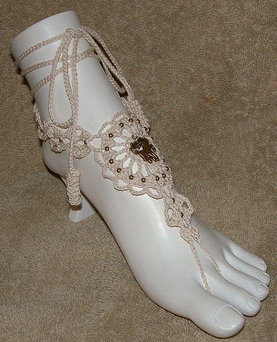 Crochet Barefoot Sandals Horse Bracelet Rings Footwear Beachwear Shoes Jewelry (I'm thinking....beach wedding...)